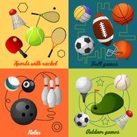 Sport 4 platta ikoner komposition vektor