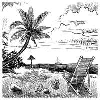 sommar strand skiss
