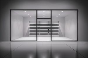 Store interiör med hyllor vektor