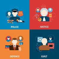 Flache Ikonenzusammensetzung von Verbrechen und Bestrafungen