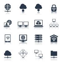 Netzwerk-Icons schwarz