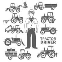 Traktor-Treiber-Icons vektor
