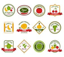 Frukt grönsaker etiketter sätta färg vektor