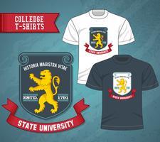 College beschriftet T-Shirts