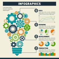 Gear Glühbirne Infografiken vektor