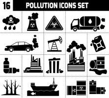 Föroreningsikoner Svart vektor