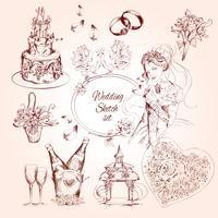 Hochzeitsskizze Set vektor