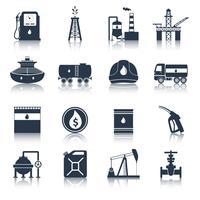 Ölindustrie Icons schwarz vektor