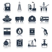 Ölindustrie Icons schwarz