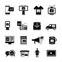 Werbe-Icons schwarz vektor