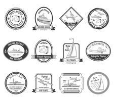 Kreuzfahrt Reisebüro Touren Etiketten vektor