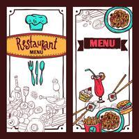 Restaurant Menü Lebensmittel Banner gesetzt vektor
