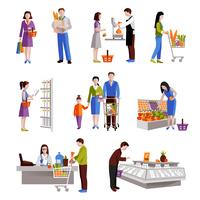 Människor I Supermarket vektor