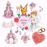 Hochzeitsskizze farbig vektor