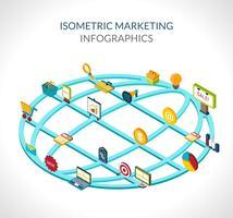 Marknadsföring Isometrisk Infographics