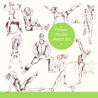 Fitness-Menschen-Skizze