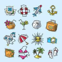 Sommar semester ikonuppsättning