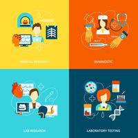 Medicinska tester ikoner platt