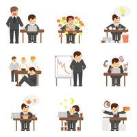 Stress i arbetet ikoner uppsättning
