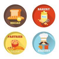 Bäckerei dekorative Symbole vektor