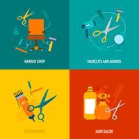 Barber shop platt ikoner komposition