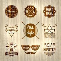 Hipster Etiketter Trä