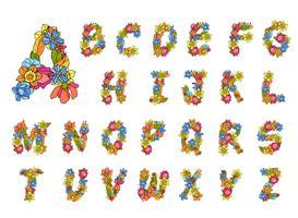 Blumen Alphabet farbig vektor
