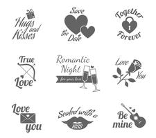 Romantiska etikett ikoner uppsättning vektor