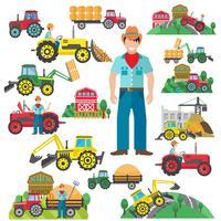 Traktorfahrer-Ikonen eingestellt flach