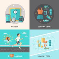 jogging platt set vektor