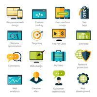 Inställningar för webbutvecklingsikoner vektor