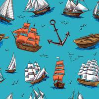 Fartyg och båtar skissar sömlöst mönster