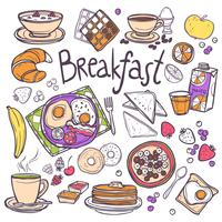 Frukost ikoner Set vektor