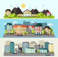 landskap stad banner platt vektor