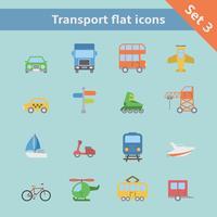 Transport platt ikoner uppsättning