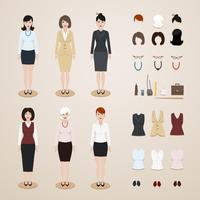 Kontors kvinnor satt vektor