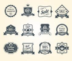 Schwarze Retro- Verkauf beschriftet Ikonensammlung