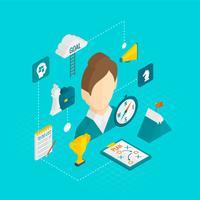 Coaching Geschäfts isometrische Ikone vektor