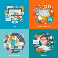 seo internet marknadsföring platt vektor