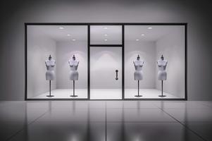 Store interiör med mannequiner vektor