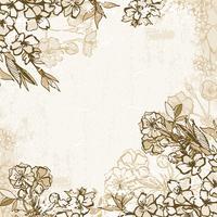 Hintergrundrahmen mit blühender Kirsche oder Kirschblüte vektor