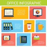 Office infographics platt affärsmall vektor