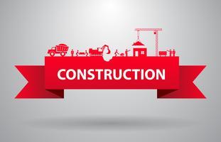 Röd konstruktion banner