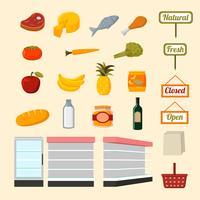Samling av mataffärer av snabbköp