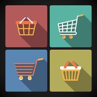 Internet-Einkaufswagen und Körbe vektor