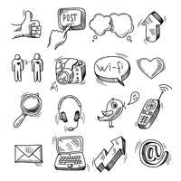 Doodle sociala ikoner uppsättning