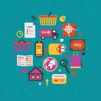 Internet shopping ikoner uppsättning