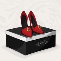Rote Schuhe der Modefrau