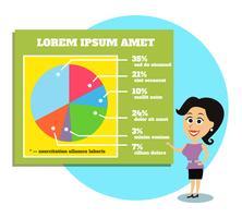 Affärskvinna presentera grafer och diagram