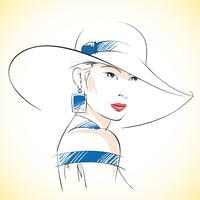 Mode skiss av vacker ung kvinna